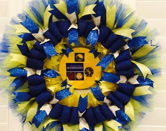 Golden State Warriors Wreath, gold and blue, DUBS, basketball, NBA, Warriors wreath, custom sports wreath, ships in 3 days of order,
