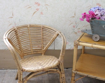 Vintage French Rattan Child's Chair