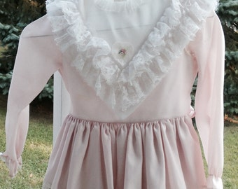 Vintage Girls Pink Lace Dress