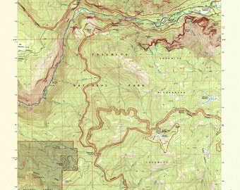 Yellowstone Topographic Map Of Print Vintage Wyoming USA - Yellowstone on a map of the us