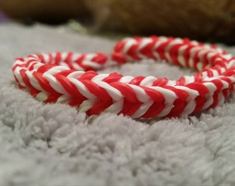 Double Band Red and White Loom Bracelet