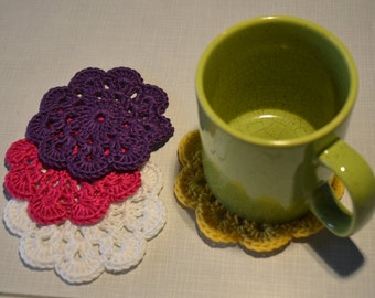 Set of Four Crocheted Coasters *Flower Pattern*