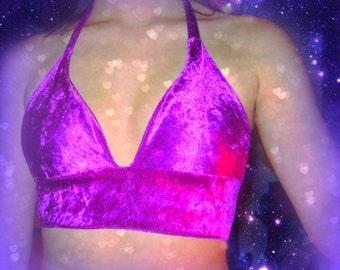 Purple velvet Halter rave festival top