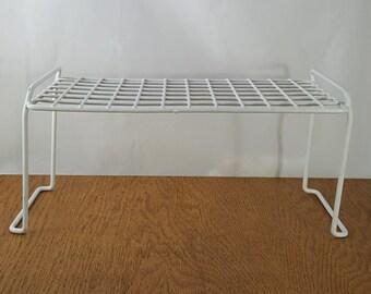 White Metal Storage Rack~ Office Cabinet Organizer~ Shelf Organizer~White Rubberized Atomic Metal Rack~Bathroom Organizer~RV Kitchen Storage