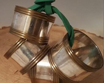 Vintage Brass Napkin Rings~ Made in India Napkin Rings~ Set of 4 Metal Napkin Rings