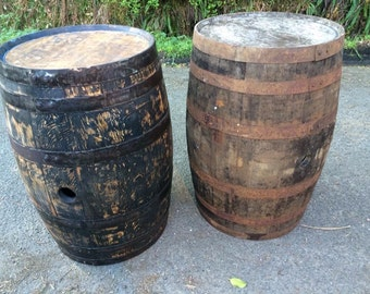 Solid oak whisky barrels, stripped and oiled
