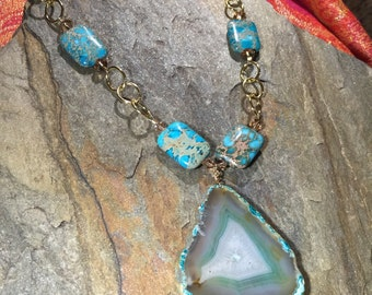 Turquoise Slab Pendant Necklace