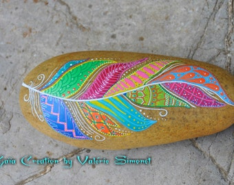Roller hand - painted colorful feather / Hand painted pebble - Colorful feather