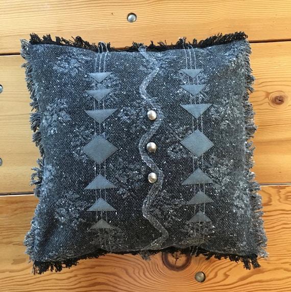 Grey Wool Throw Pillow : Geometric handmade decorative pillow wool throw pillow grey