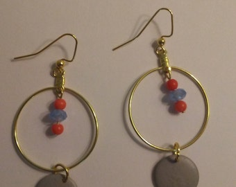 Coral and Swarovski Crystal Gold Earrings