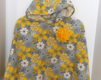 Flannel flowered poncho/cape size 6