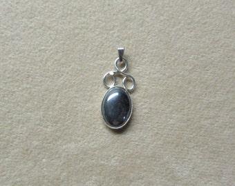 Unique HEMETITE STERLING silver pendant.