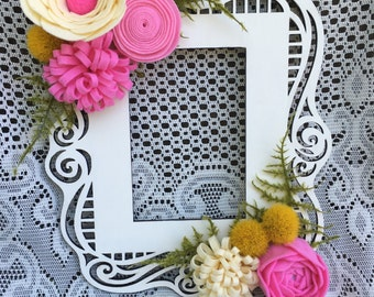 Felt flowers, laser cut, wood frame, home decor, wall decor, nursery decor, floral decor, floral art, wall hanging, felt flower decor,