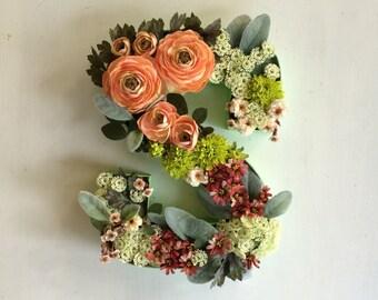 Modern Floral Monogram Wreath