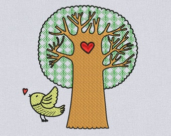 Tree and bird machine embroidery design