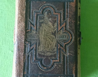 Beautiful antique leather holy bible with brass clasp and pamplets 1800's