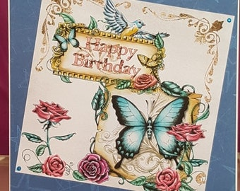Handmade birthday card with butterflies and roses