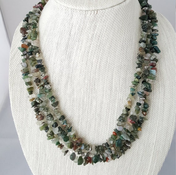 Green multi-strand natural gemstone necklace