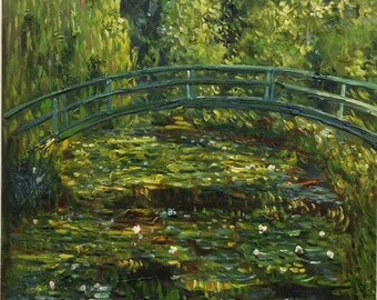 Monet Inspired Bridge and Lily Pond Abstract Green Acrylic Painting