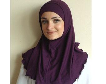 Blueberry color Hijab Two Piece,Al Amira style, Purple Hijab, Scarf handmade, prayer scarf, Muslim, islamic viscose scarf, eid gift ideas