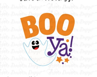 Boo Ya! Halloween SVG, DXF, PNG Cut Files for Silhouette Cameo, Cricut, Trick or Treat Svg, Vector Cut Files, Halloween Svg, Ghost Svg
