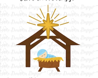 Baby Jesus in a Manger SVG, DXF, PNG Cut Files for Cricut, Silhouette Cameo, Vector Cut Files, Christmas Svg, Religious Svg, Nativity Svg