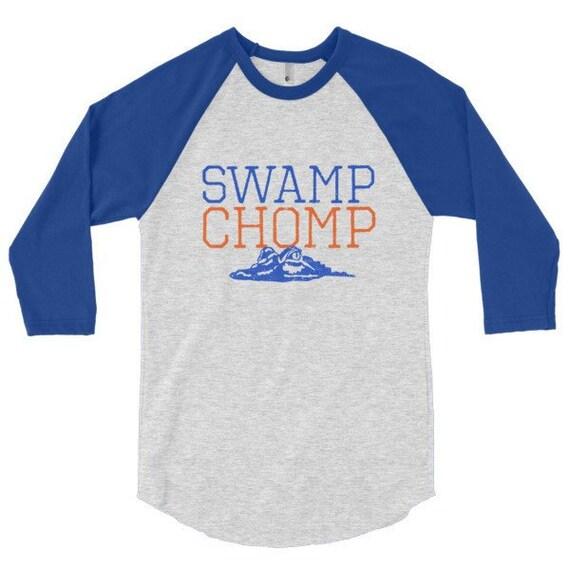 Swamp chomp 3 4 sleeve unisex raglan shirt florida gators 4 for Florida gators the swamp shirt