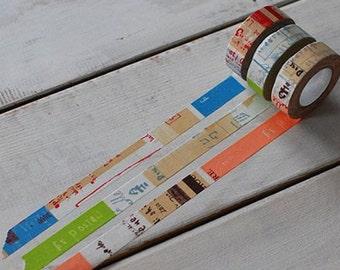3 pattern Japan washi masking tape sample - 倉敷意匠 井上陽子「Graffiti 」Made in Japan - 50 cm per pattern - NOT whole roll