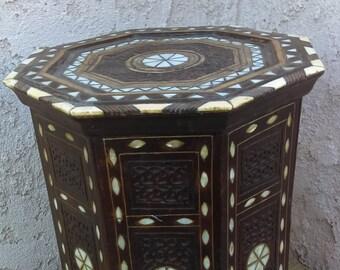 Vintage Moroccan Egyptain Inlaid Table