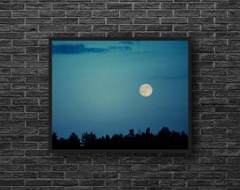Moonlight Photo - Full Moon Photography - Night Photo - Night Landscape - Blue Sky Photo - Moon Print - Blue Wall Decor - Moon Wall Decor