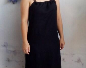 Linen Slip Dress / Women Sleep Wear, Pajama Dress in Black Linen