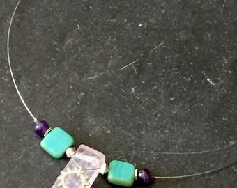 Quartz Cog Fine Wire Bicycle Necklace / Bike Necklace, Bicycle Necklace, Bike Jewelry, Bicycle Jewelry, Bike Choker, Bicycle Choker, Gear