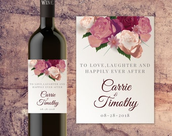 Personalized Wedding Wine Bottle Label, Custom Wine Bottle Labels for Wedding Tables, Bride and Groom Wedding Wine Bottle Label