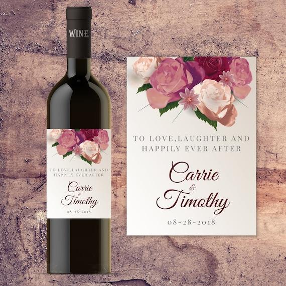 Wedding Engagement Wine Label Pdf: Wedding Wine Bottle Label Custom Wine Bottle Labels For
