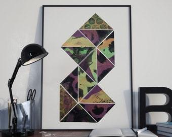Art Print Geo I Geometric A2 Collage Wall Art Wall Decor
