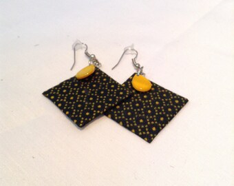 Black and Yellow Square Jeweled Earrings
