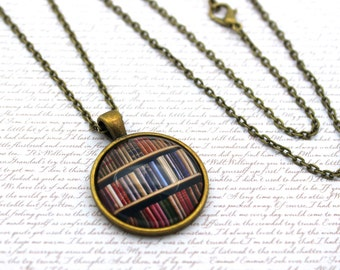 Bookshelf Version 2, Library, Book Necklace or Keychain, Keyring