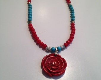 Rose & Turquoise necklace