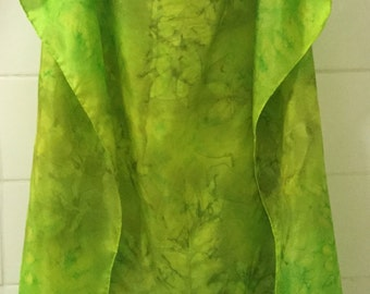 "Silk Scarf Hand-painted Silk Scarf Square Gold Yellow Green Eco Print Leaf Hand-dyed Hand-printed Designer 35"" x 35"" Silk Neck Scarf OOAK"