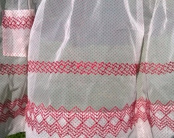 Vintage Red & White Dotted Swiss Single Pocket Hostess Apron Handmade Hand Embroidered Pleated Polka Dot Mid Century Retro Kitchen