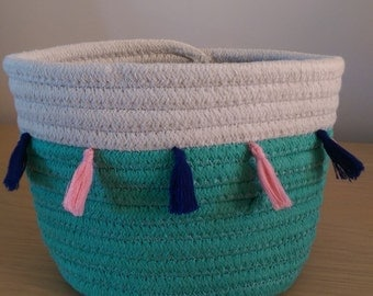 Aqua and natural cotton coiled basket