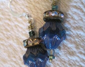 Dark Blue Dangle Earrings, Glass Beads, Rhinestone Rondelles