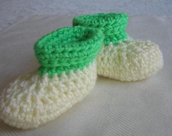 Crocheted Roll Top Baby Booties