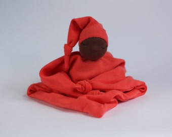 Newborn lovey, baby gift, waldorf inspired, sleeping doll, blanket doll, pink doll, Fiddlehead Doll