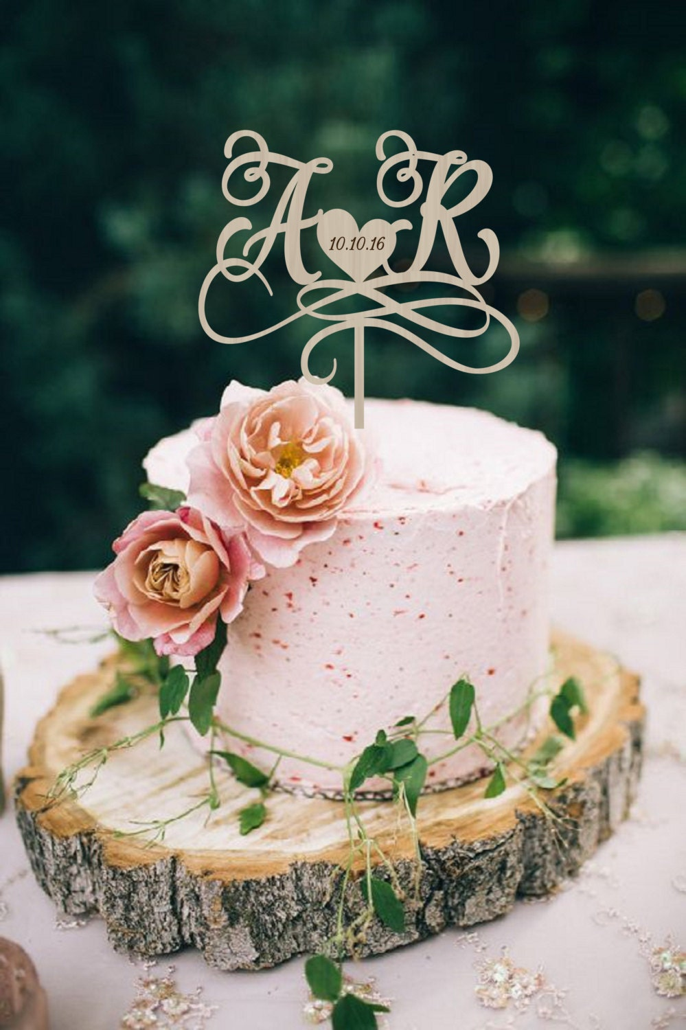 image of wedding cake with name wedding cake topper initials cake topper names 16319