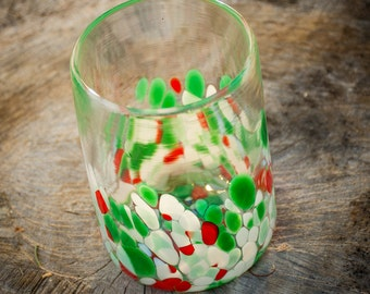 Drinking Glass Blown Art Glass Tumbler Cup Kitchenware Holiday Red Green White