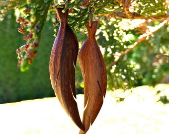Hand-made wood feather earrings