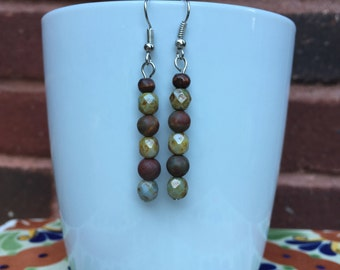 Neutral brown and blue straight earrings