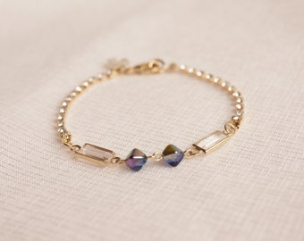 Moonstones Charm CZ Bracelet, Cubic Zirconia Bracelet, Bridesmaid Gift,June Birthstone Bracelet,Crystal Bracelet