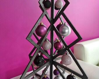 Gray modern design wooden Christmas tree metallic or metallic black
